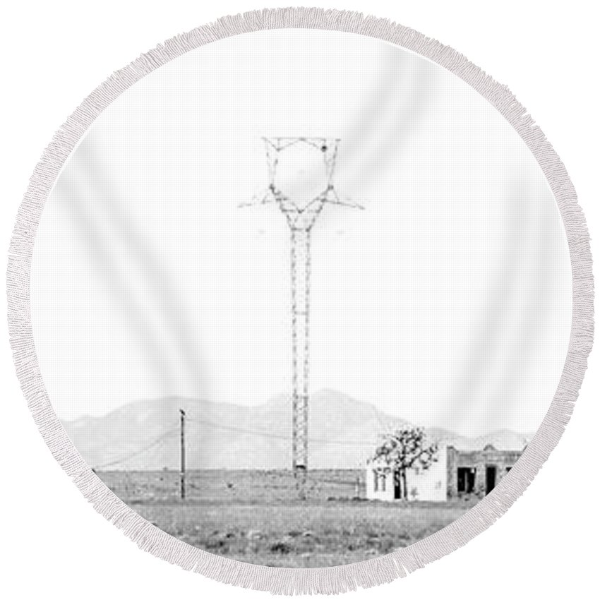 Calisteo Round Beach Towel featuring the photograph Landscape Galisteo Nm H10g by Otri Park