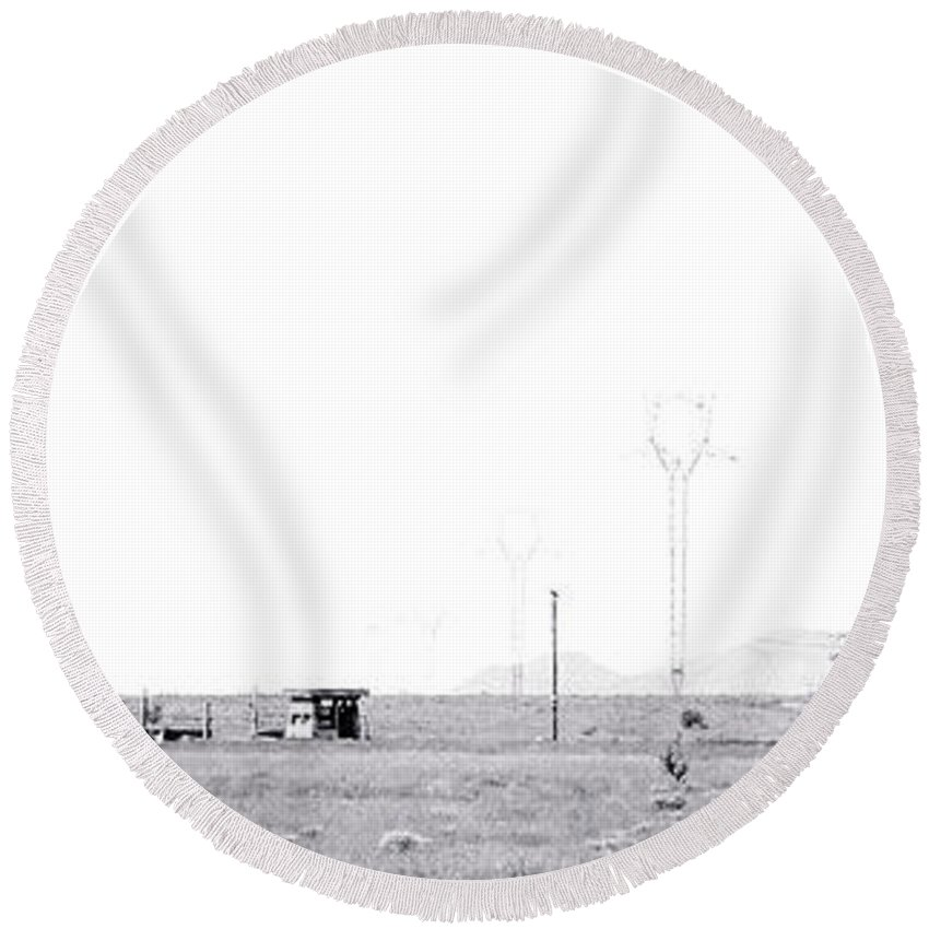 Calisteo Round Beach Towel featuring the photograph Landscape Galisteo Nm H10n by Otri Park