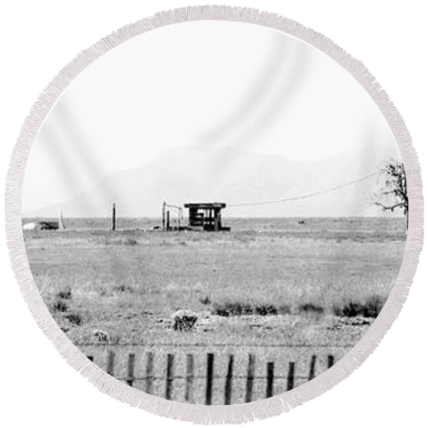 Calisteo Round Beach Towel featuring the photograph Landscape Galisteo Nm I10b by Otri Park