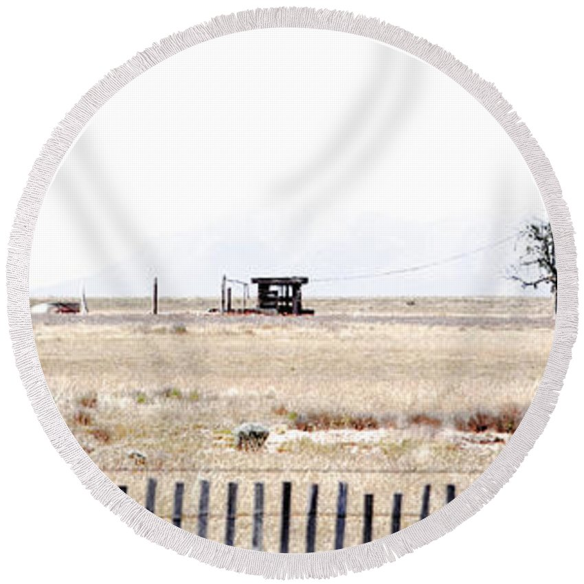 Calisteo Round Beach Towel featuring the photograph Landscape Galisteo Nm I10c by Otri Park