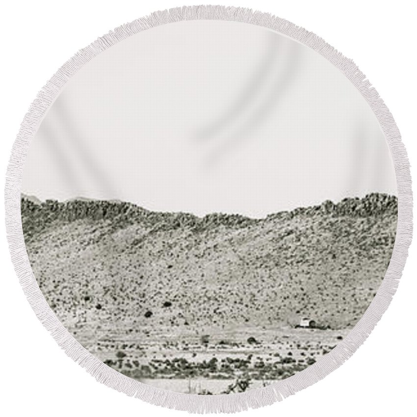 Calisteo Round Beach Towel featuring the photograph Landscape Galisteo Nm I10l by Otri Park