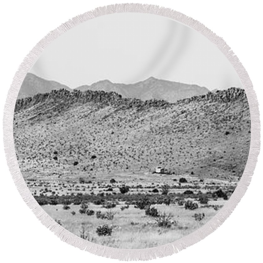 Calisteo Round Beach Towel featuring the photograph Landscape Galisteo Nm I10o by Otri Park