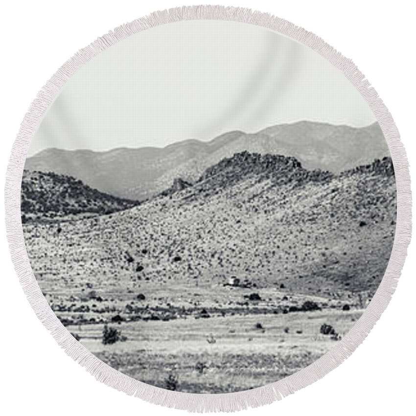 Calisteo Round Beach Towel featuring the photograph Landscape Galisteo Nm J10a by Otri Park
