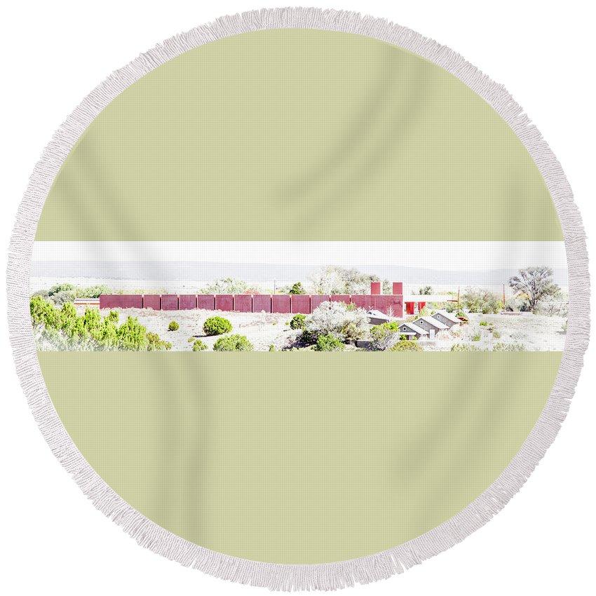 Calisteo Round Beach Towel featuring the photograph Landscape Galisteo Nm J10l by Otri Park