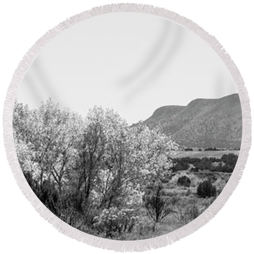 Calisteo Round Beach Towel featuring the photograph Landscape Galisteo Nm J10o by Otri Park