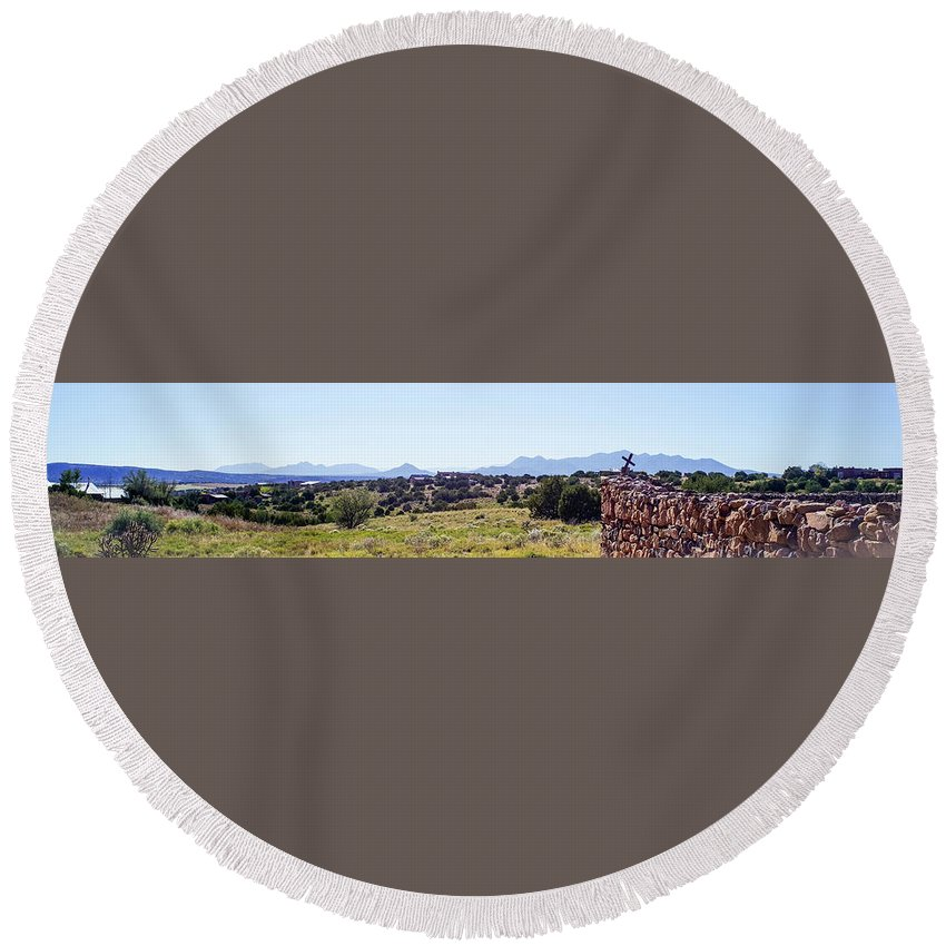 Calisteo Round Beach Towel featuring the photograph Landscape Galisteo Nm K10h by Otri Park