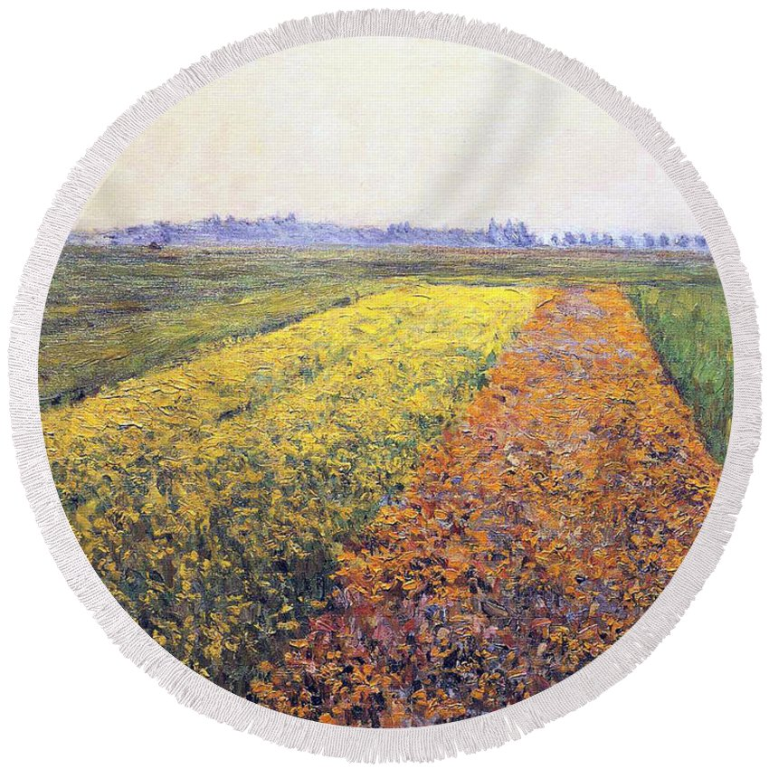 Land Round Beach Towel featuring the painting Landscape by Gustave Caillebotte