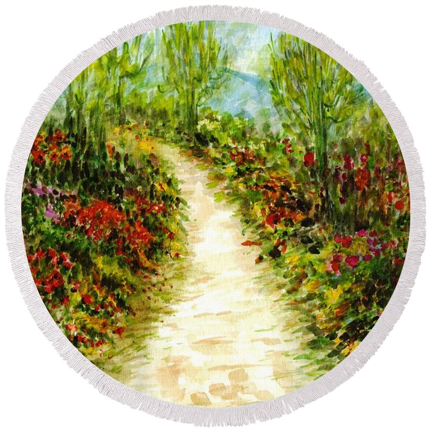 Landscape Round Beach Towel featuring the painting Landscape by Harsh Malik