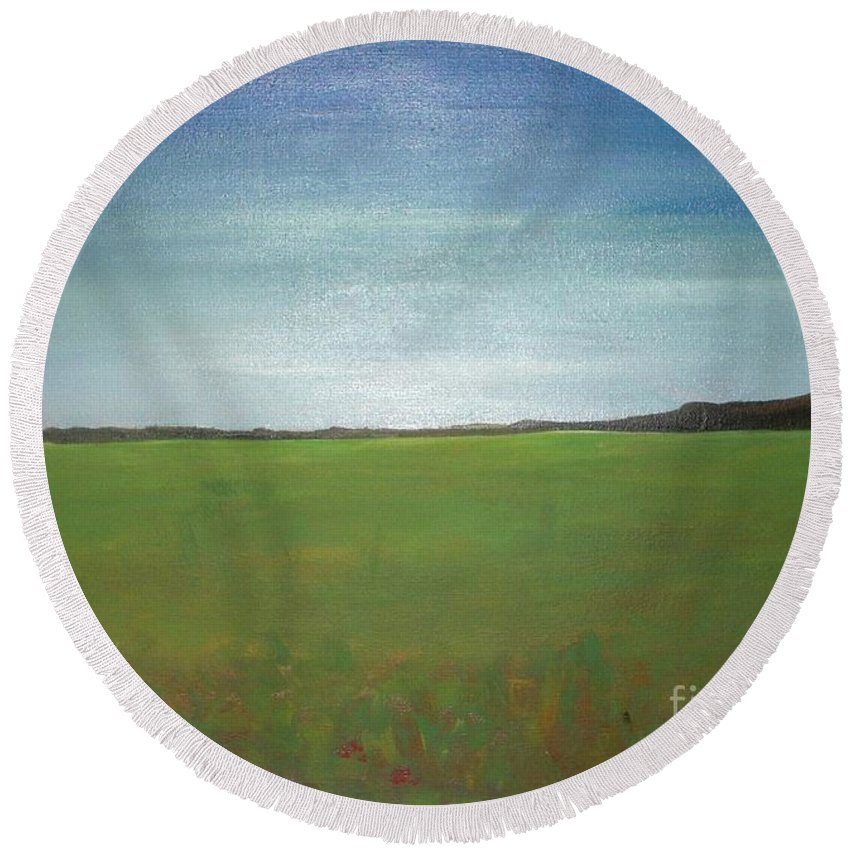 Landscape Round Beach Towel featuring the painting Landscape II by Vesna Antic