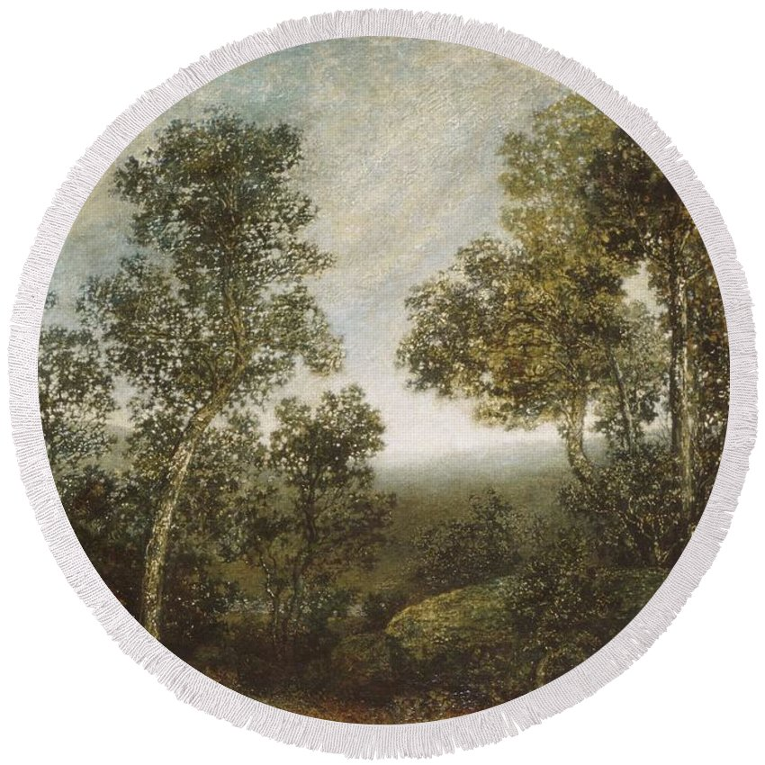 Landscape Round Beach Towel featuring the painting Landscape by MotionAge Designs