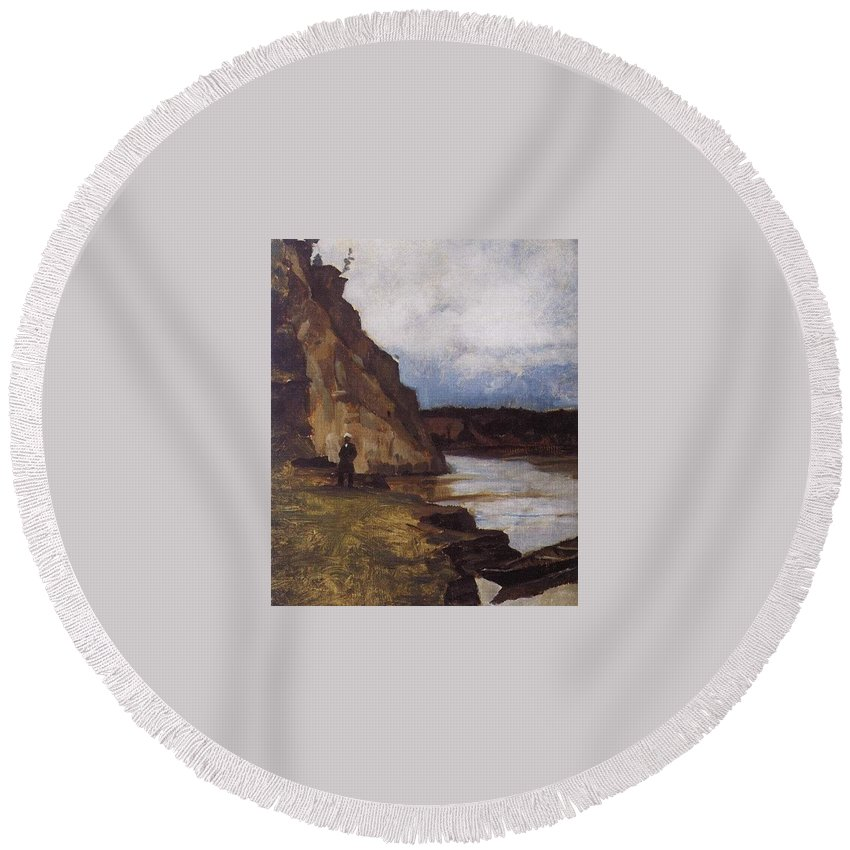Cliff Round Beach Towel featuring the digital art Landscape With A Figure Of His Brother Vasily Ivanovich Surikov by Eloisa Mannion