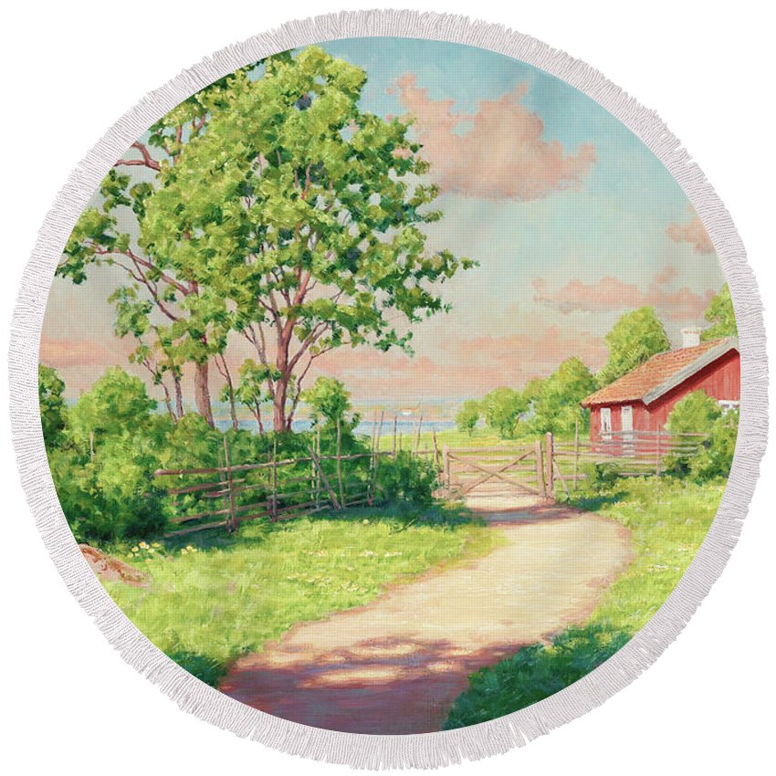 Johan Krouthen Round Beach Towel featuring the painting Landscape With A Red Cottage by Johan Krouthen