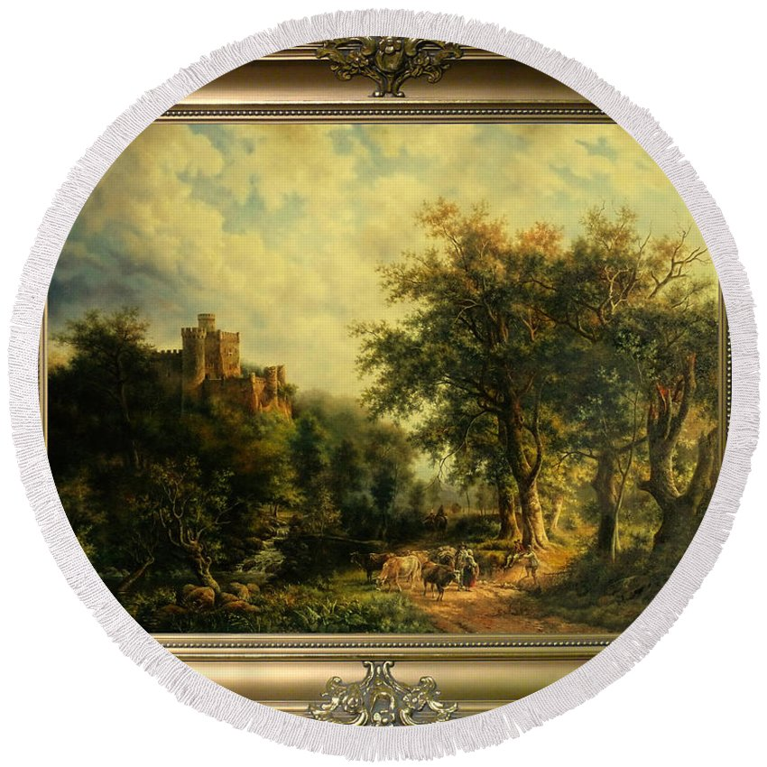 Пейзаж Round Beach Towel featuring the painting Landscape With Castle by Iakushchenko Sergei
