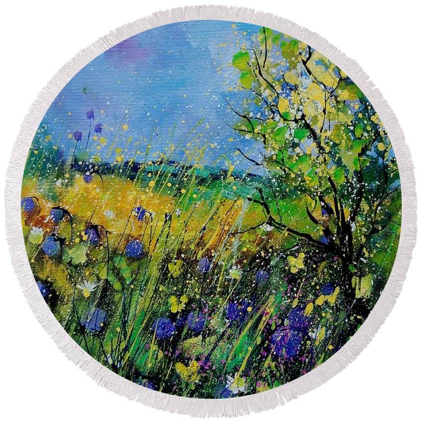 Flowers Round Beach Towel featuring the painting Landscape With Cornflowers 459060 by Pol Ledent