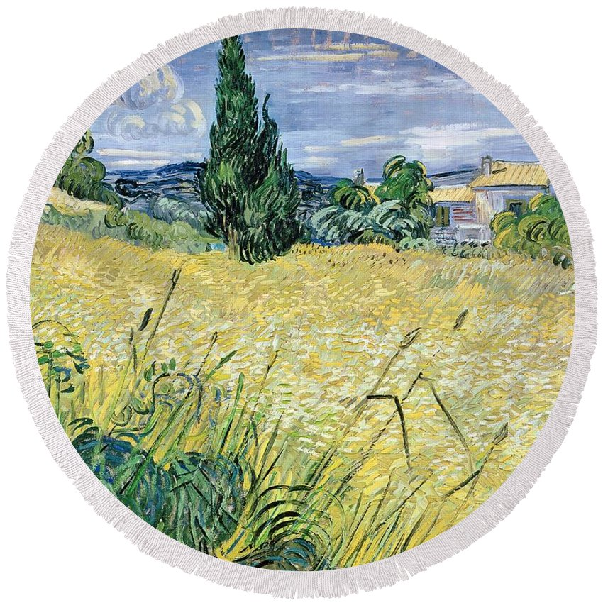 Vincent Van Gogh Round Beach Towel featuring the painting Landscape with Green Corn by Vincent Van Gogh