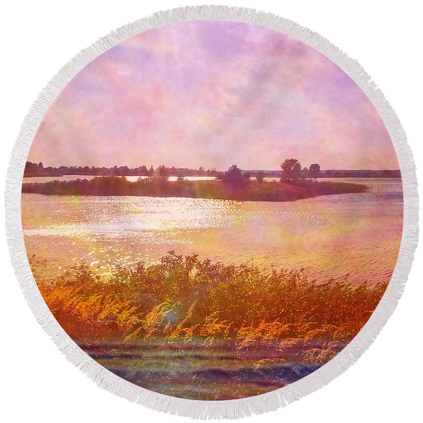 Colorful Round Beach Towel featuring the digital art Landscape With Island 008 01 01 2016 by Algirdas Lukas