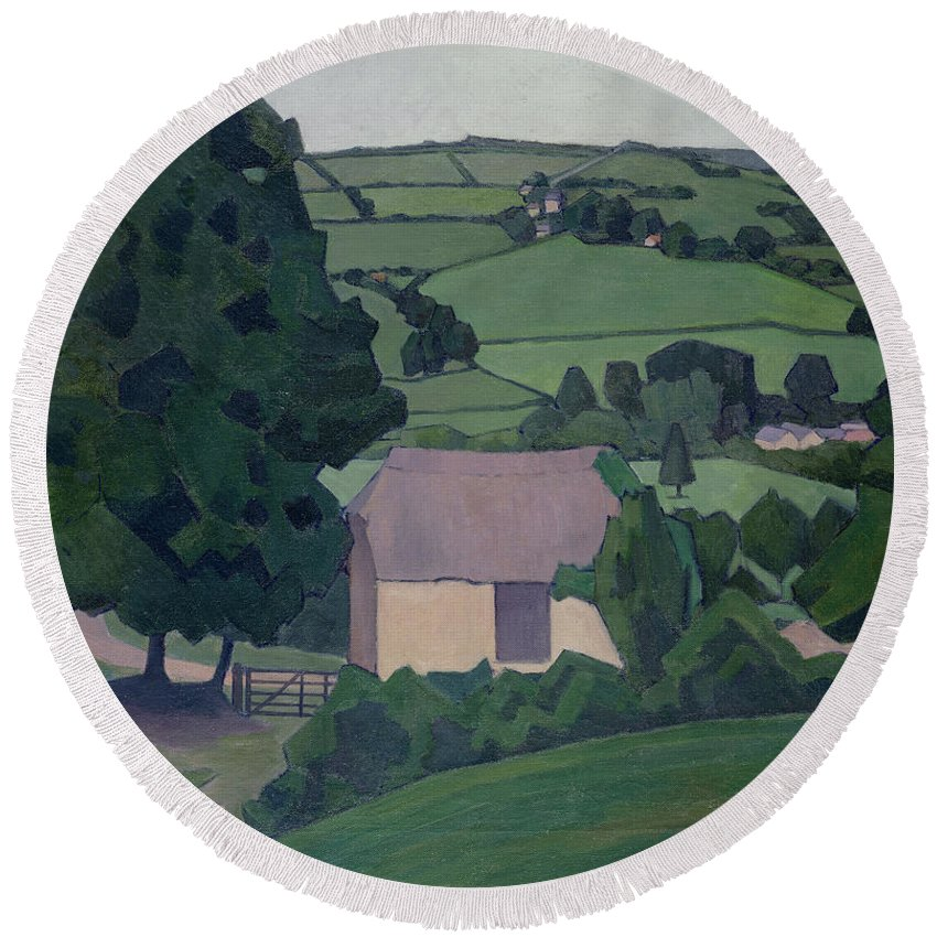 Landscape Round Beach Towel featuring the painting Landscape With Thatched Barn by Robert Polhill Bevan