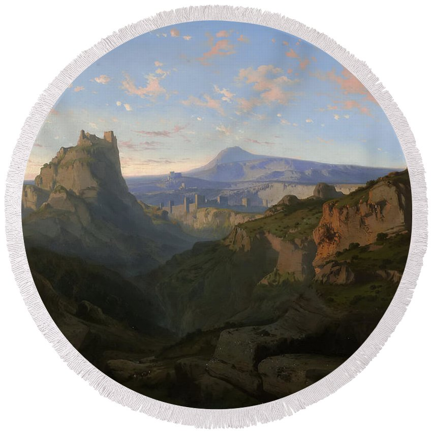 Lluis Rigalt Round Beach Towel featuring the painting Landscape With The Castle Of Montsegur by Lluis Rigalt