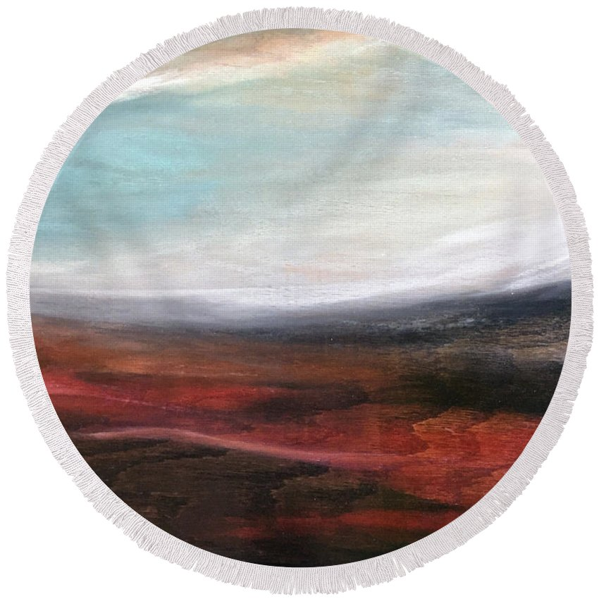 Landscape Round Beach Towel featuring the photograph Landslide by Susi Schuele