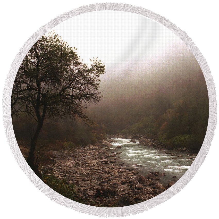 Tree Round Beach Towel featuring the photograph Langtang Morning by Patrick Klauss