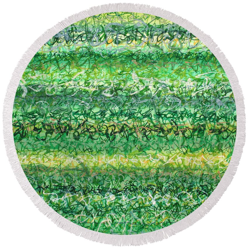Grass Round Beach Towel featuring the painting Language Of Grass by Jason Messinger