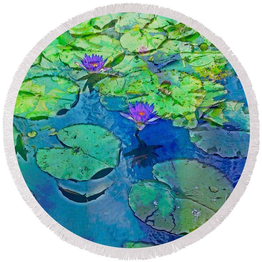 Lotus Round Beach Towel featuring the photograph Languid Lagoon by Anthony Robinson