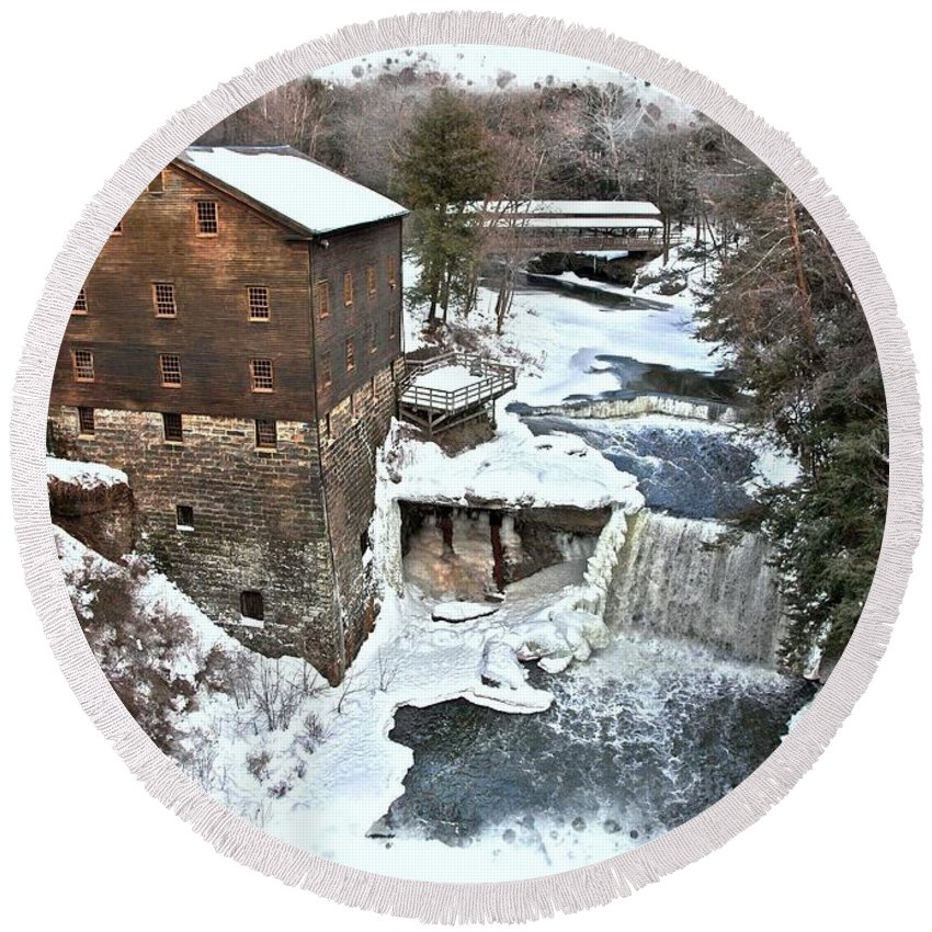 Youngstown Round Beach Towel featuring the photograph Lanterman's Mill by Suzanne Stout