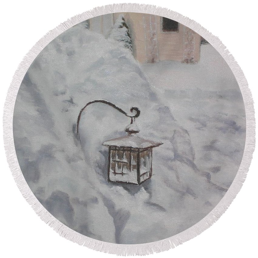 Snow Round Beach Towel featuring the painting Lantern In The Snow by Lea Novak