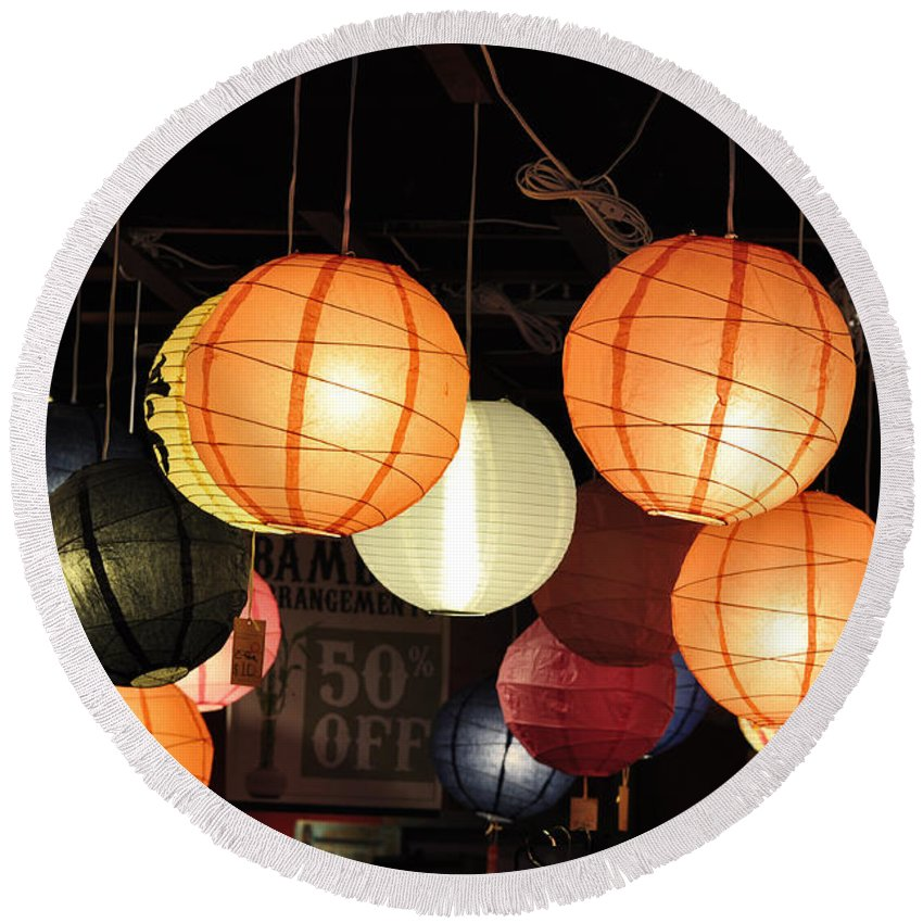 Lanterns Round Beach Towel featuring the photograph Lanterns 50 Percent Off by Jan Amiss Photography