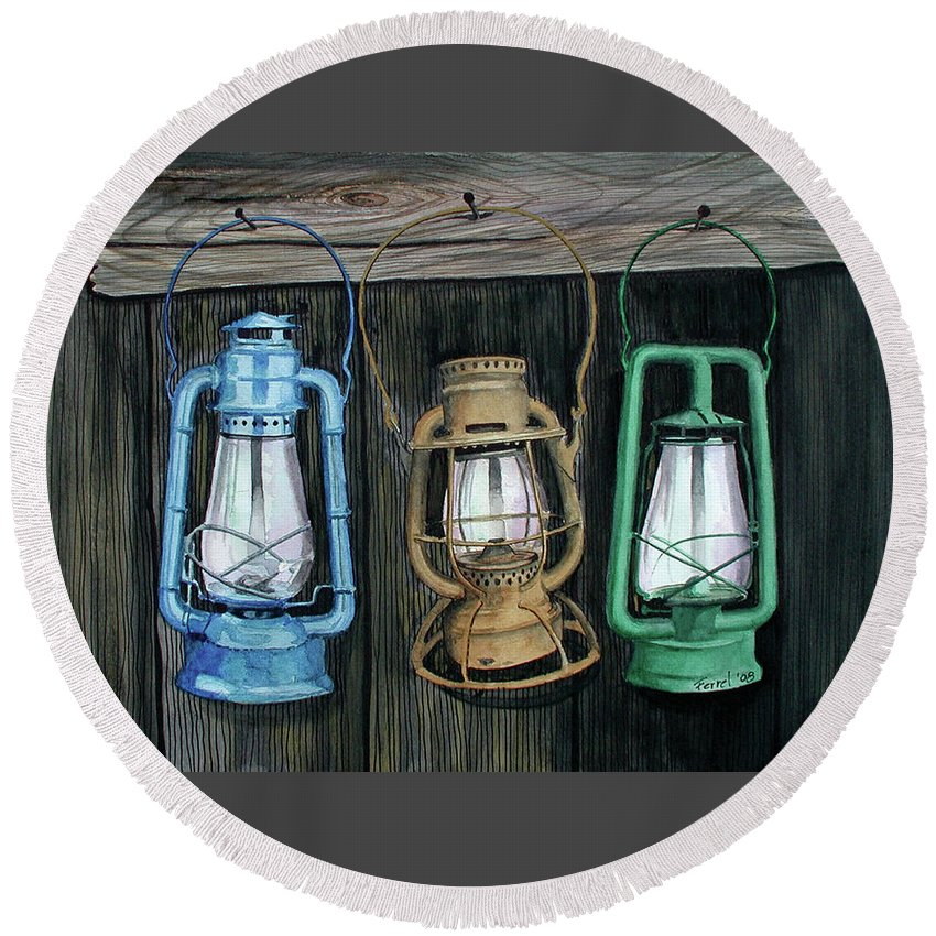 Lanterns Round Beach Towel featuring the painting Lanterns by Ferrel Cordle