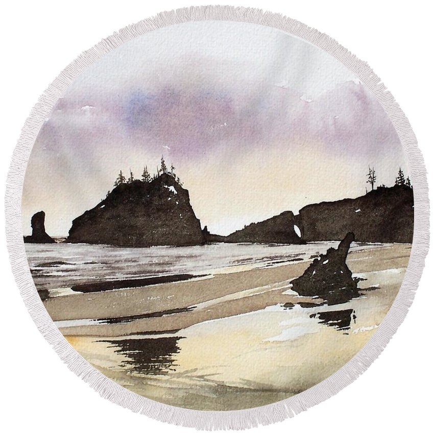 Washington Round Beach Towel featuring the painting Lapush by Gale Cochran-Smith
