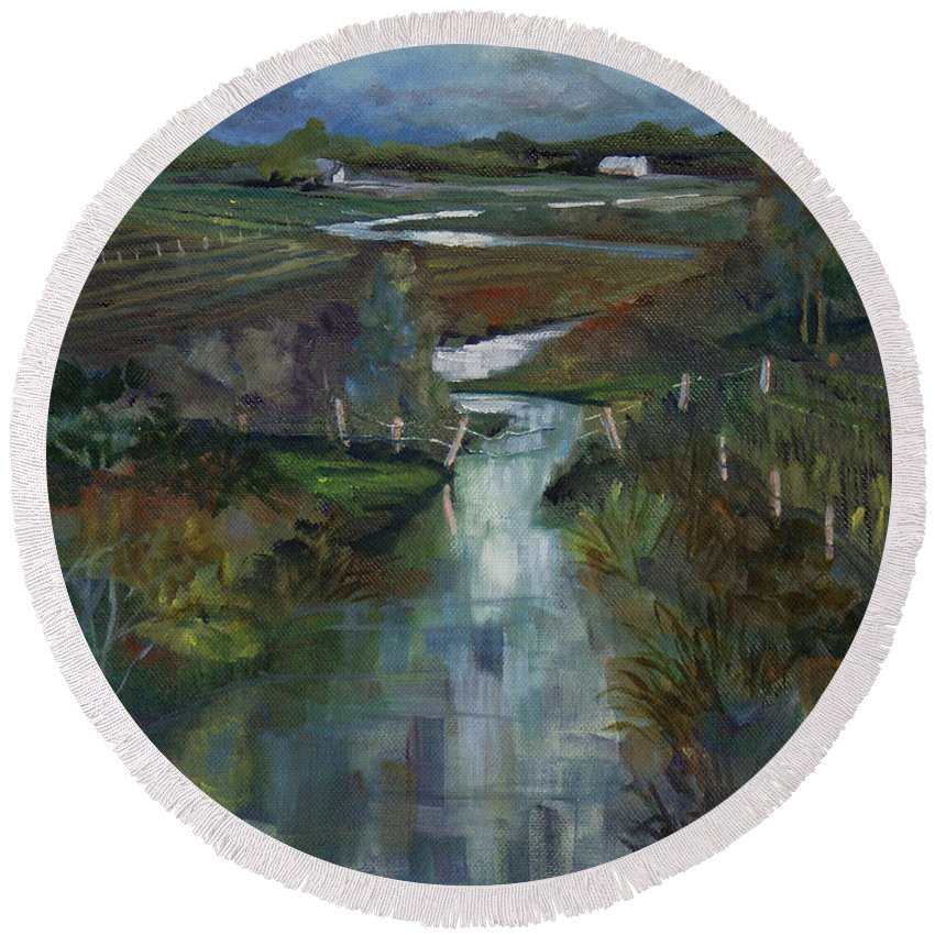 River Round Beach Towel featuring the painting Laramie River Valley by Heather Coen