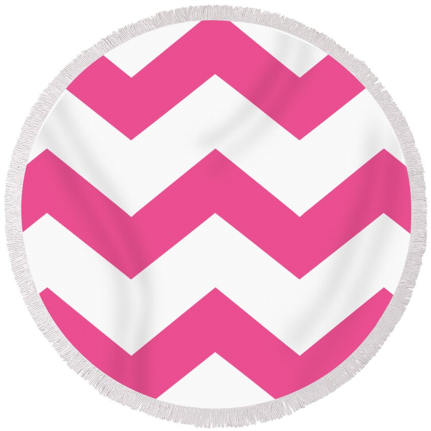 Large Chevron Round Beach Towel featuring the digital art Large Chevron With Border In French Pink by Custom Home Fashions
