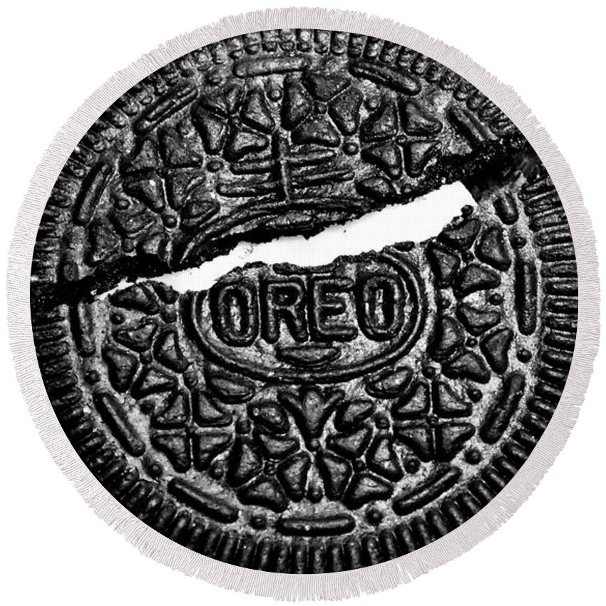 Cookie Round Beach Towel featuring the photograph Large Oreo Black And White by Nancy Mueller