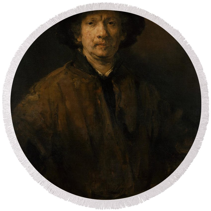 Rembrandt Round Beach Towel featuring the painting Large Self-portrait by Rembrandt
