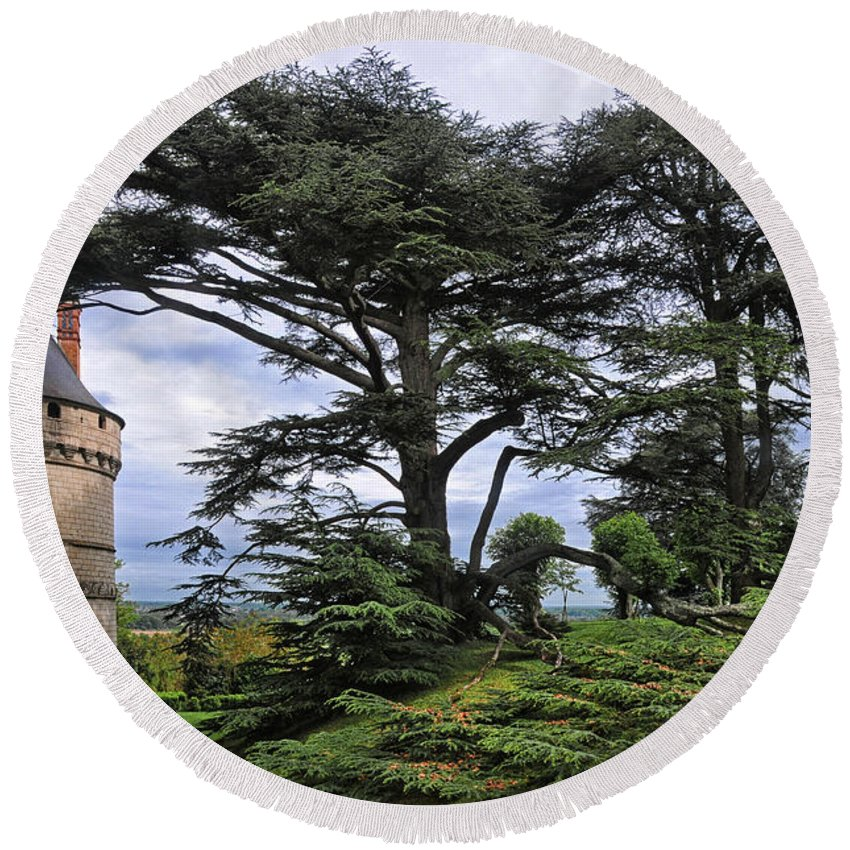 Chateau De Chaumont Round Beach Towel featuring the photograph Large Trees At Chateau De Chaumont by Dave Mills