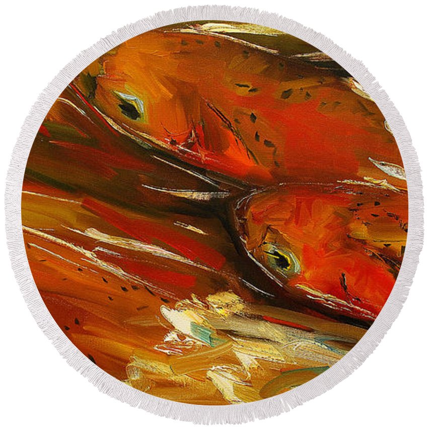 Trout Round Beach Towel featuring the painting Large Trout Stream Fly Fish by Diane Whitehead