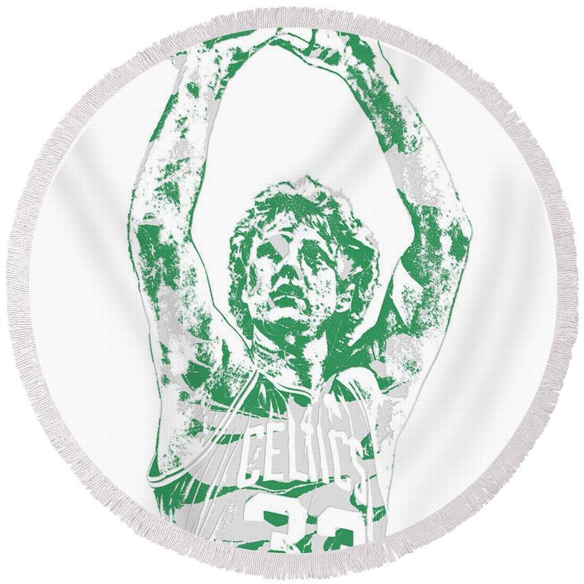 Larry Bird Round Beach Towel featuring the mixed media Larry Bird Boston Celtics Pixel Art 5 by Joe Hamilton