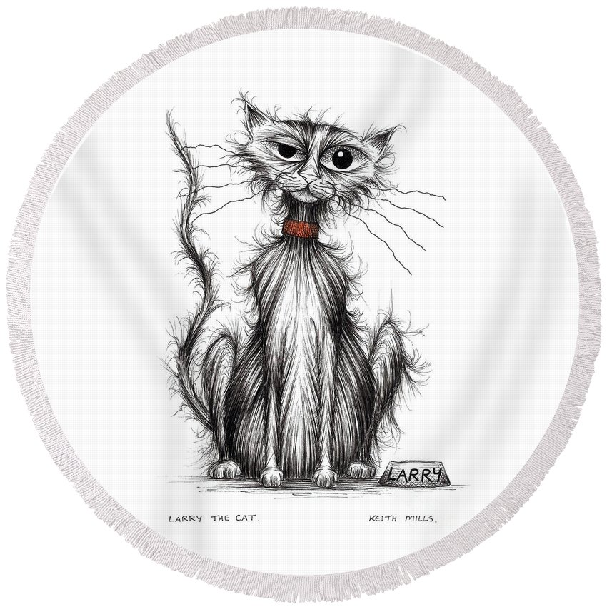 Cat Round Beach Towel featuring the drawing Larry The Cat by Keith Mills