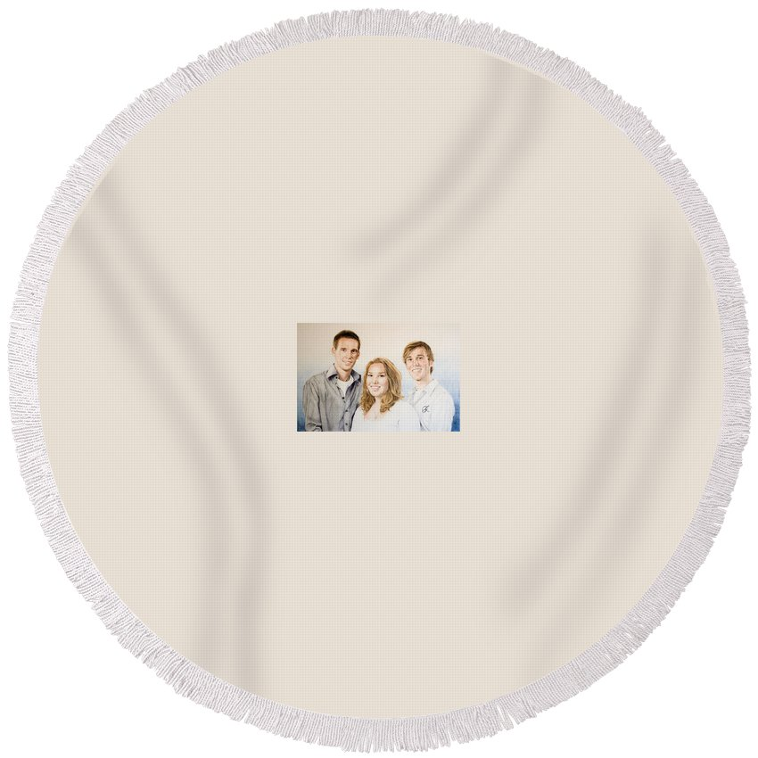 Portrait Round Beach Towel featuring the drawing Lars Niels and Ilse by Rob De Vries