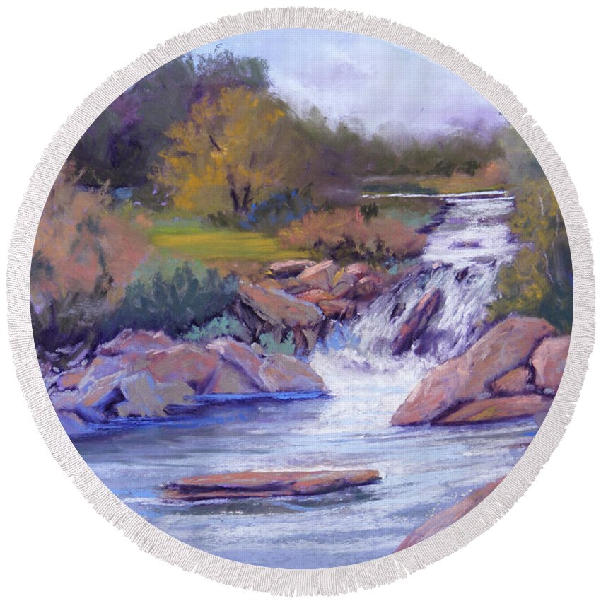 Pastel Round Beach Towel featuring the painting Larsen Falls by Heather Coen
