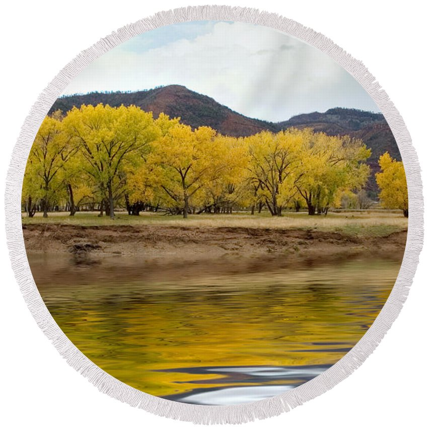 River Round Beach Towel featuring the photograph Las Animas Fall by Jerry McElroy