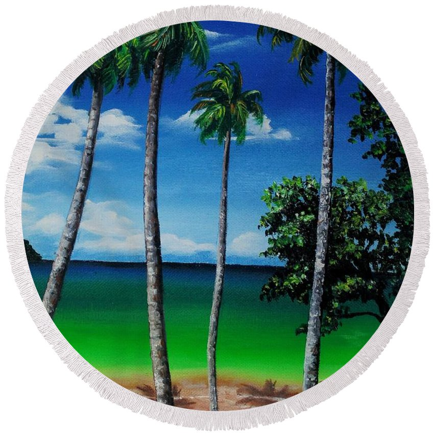 Trinidad Seascape Round Beach Towel featuring the painting Las Cuevas Bay by Karin Dawn Kelshall- Best