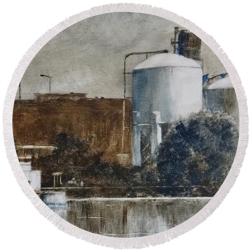 Landscape Round Beach Towel featuring the painting Las Stop Before Pool #7 by Bob Witte