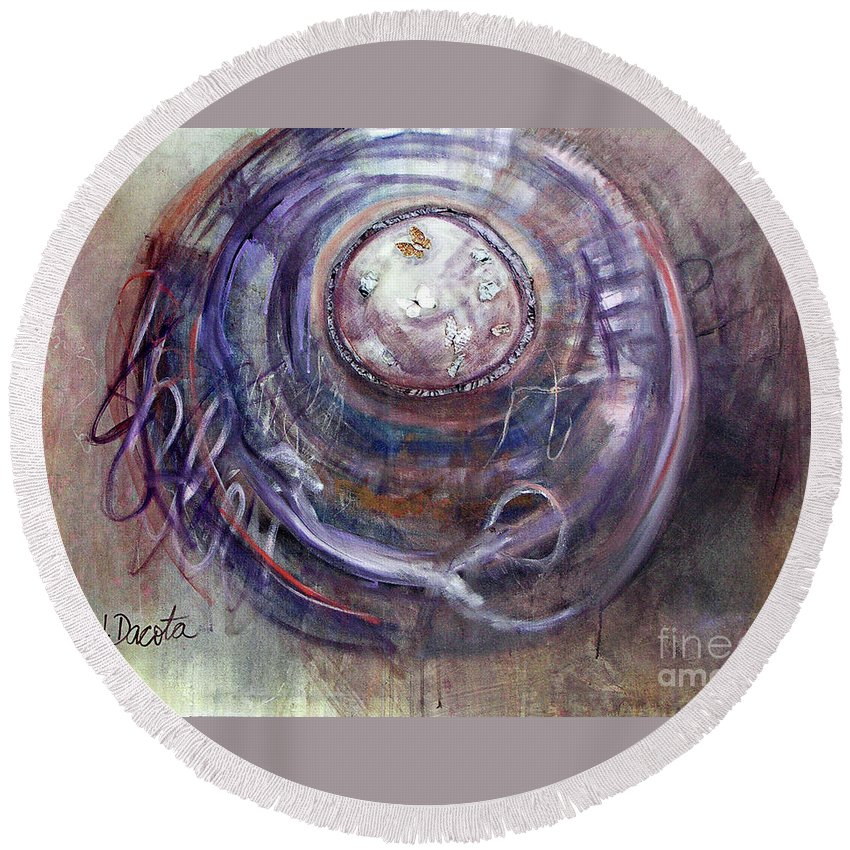 Abstract Round Beach Towel featuring the painting Lasso The Moon by Jen Dacota