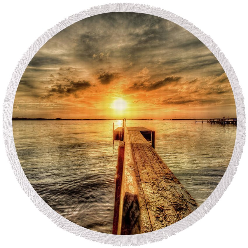 Dock Round Beach Towel featuring the photograph Last Call At Sunset Dock by Ronald Kotinsky