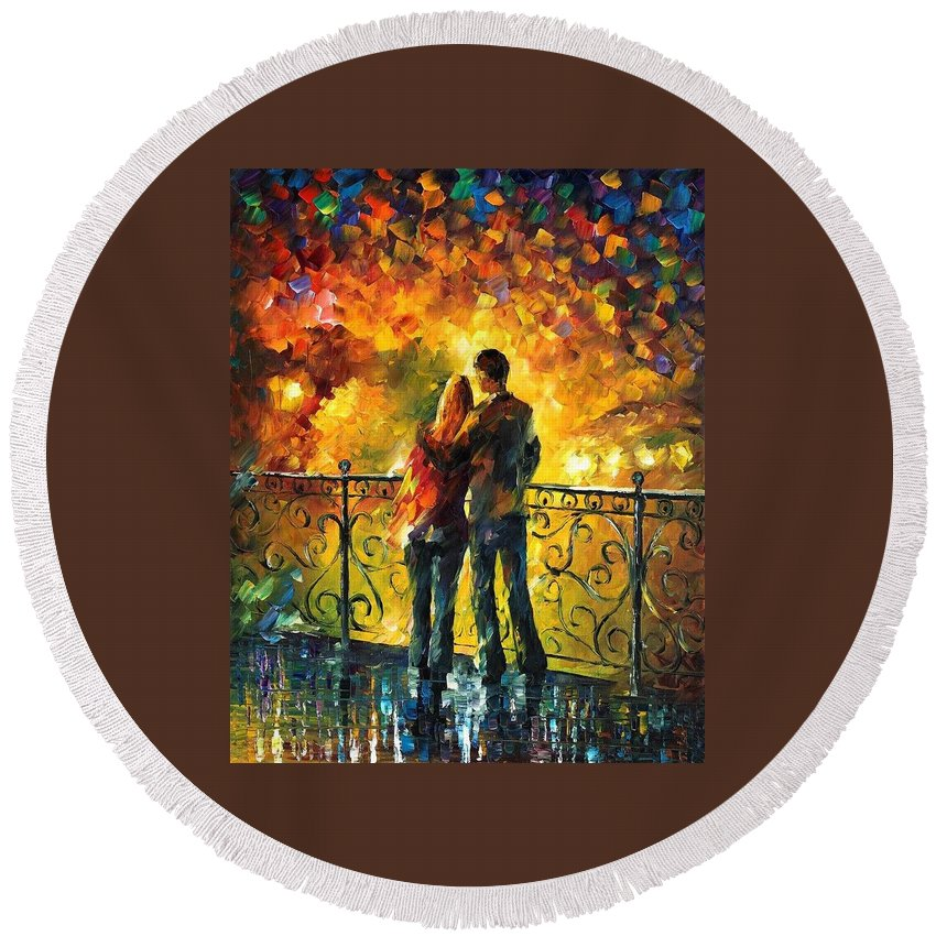 Afremov Round Beach Towel featuring the painting Last Date by Leonid Afremov