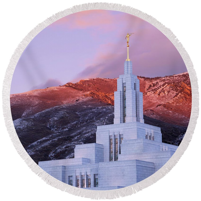 Last Light At Draper Temple Round Beach Towel featuring the photograph Last Light At Draper Temple by Chad Dutson