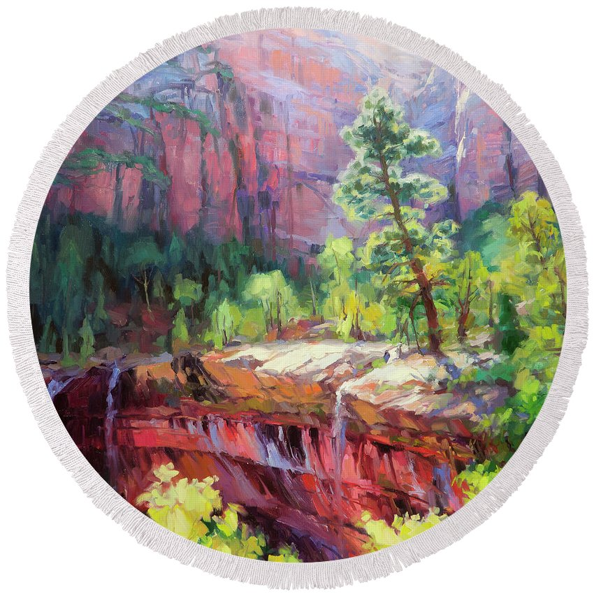 Zion Round Beach Towel featuring the painting Last Light In Zion by Steve Henderson