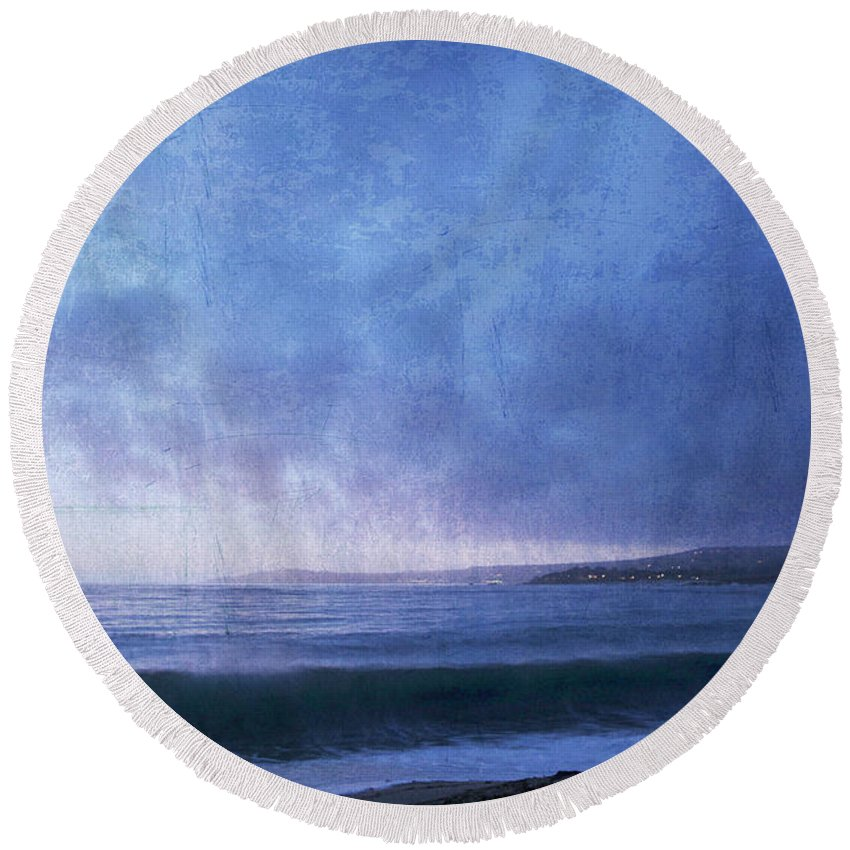Round Beach Towel featuring the photograph Last Light On Carmel Bay by Guy Crittenden